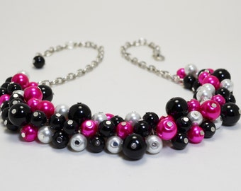 Black, Hot Pink and White Pearl  Necklace, Chunky Necklace, Cluster Necklace, Bridesmaid Jewelry, Black Jewelry, Black and Hot Pink Combo