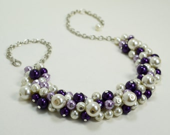 Ivory and Purple Pearl Necklace, Chunky Necklace, Bridal Jewelry, Bridesmaids Gift, Wedding Necklace, Custom Made Jewelry, Pearl Necklace.