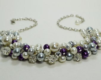 Pearl Necklace, Ivory, Gray and Purple Pearl Necklace, Chunky Necklace,  Bridal Jewelry, Wedding Necklace, Cluster Necklace, Purple Necklace