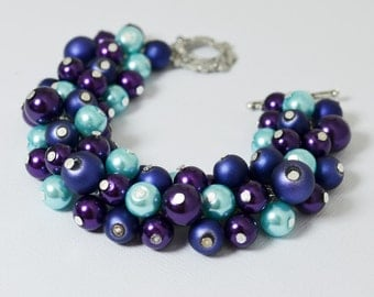 Blue, Purple and Cyan Chunky Bracelet, Pearl Bracelet, Blue Cluster Bracelet, Bridal Bracelet, Bridal Pearl Bracelet, Blue and Purple Combo