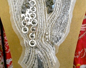 Silvery Stitched Gunmetal Gray Beaded Appliques