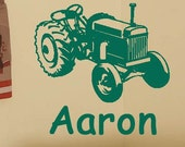 BIG Green Farm Tractor Boys Room Personalized Name Wall Decal - Custom Name Decals
