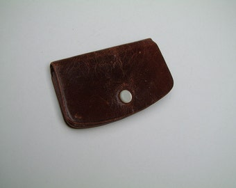 Vintage antique late 1800s small dark brown leather card holder, case, wallet, gift for him