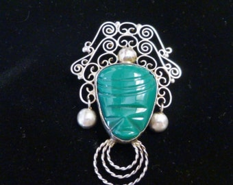 Sterling Green Jade Agate Mexican Mexico Aztec Mayan Tribal Mask Brooch Ornate Silver Fillagree Jewelry