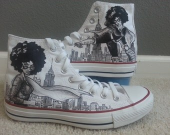 Afro Centric Superhero Diva Themed Custom Made Shoes ARTWORK and SHOES INCLUDED