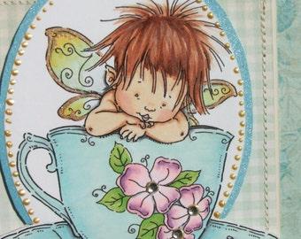 Handmade card, Mo Manning teacup fairy, blank, greeting card, embellished card