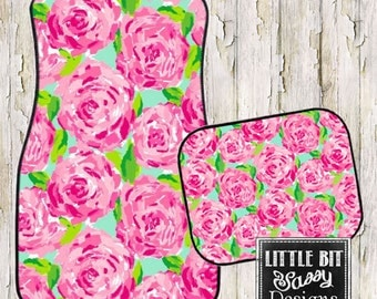 Car Mats Pink Roses Floor Car Mat Black Preppy
