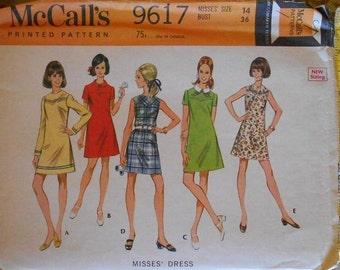 McCall's 9617 front yoked dress pattern, bust 36 pattern, basic dress pattern, hip 38 pattern, 1960s dress pattern, wardrobe builder