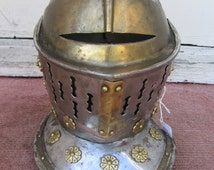 Sale-----1960's or 70's Metal and Brass MEDIEVAL Knight HELMET