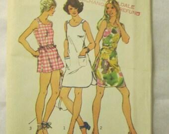 1972 Ladies Simplicity Pattern Size 16 Mini-Dress/Top/Shorts