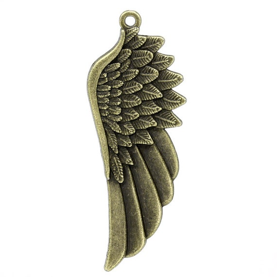 3 Bronze Wing Pendants - Antique Bronze - 59x22mm - Ships IMMEDIATELY from California - BC304