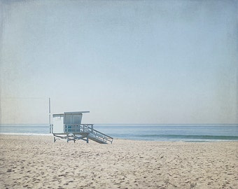 Lifeguard Stand Photography, Beach Picture, Large California Art, Blue and brown Photograph, Ocean Photo, Livingroom Decor