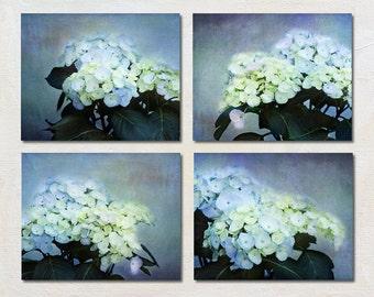 Blue Hydrangea Photograph Set, Green and Purple Wall Art Set, Four Flower Photo Set, Livingroom Artwork Set, Floral Pictures