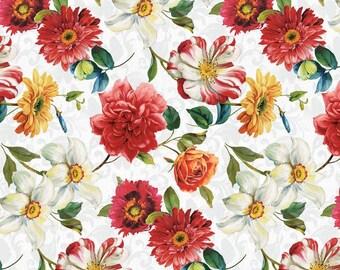 Wilmington Prints - Rainbow Garden - Large Floral - White