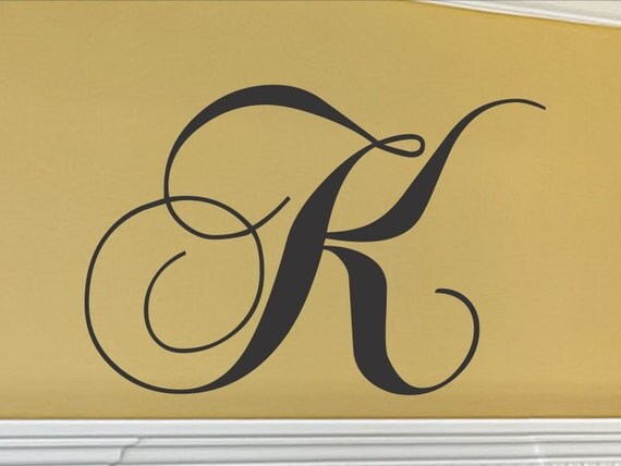 monogram letters for wall single letter monogram wall decal. Black Bedroom Furniture Sets. Home Design Ideas