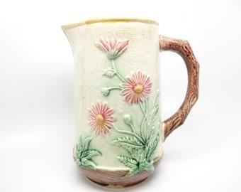 Antique Majolica Floral Pitcher or Jug