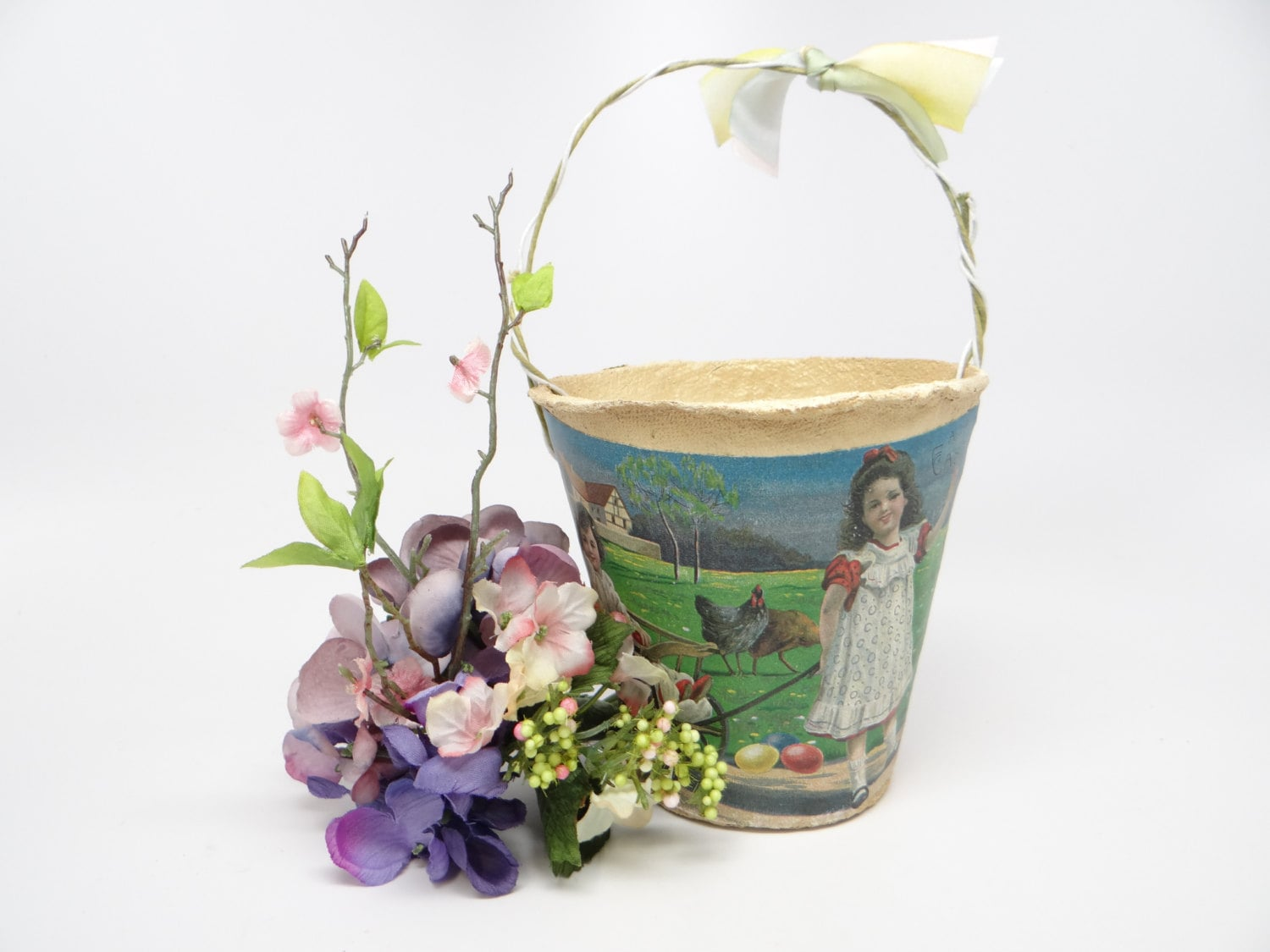 Vintage French Easter Basket Candy Container