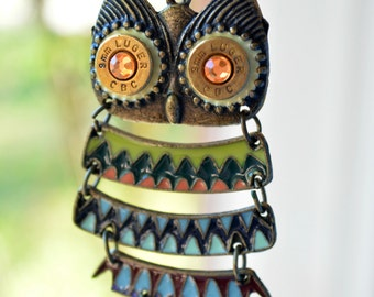 Owl Pendant Necklace with 9mm Bullet Casing Eyes
