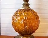 Amber Glass Globe Lamp, Vintage Lighting, Amber Glass