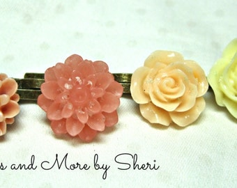 Peach Cream and Pink Flower Bobby Pins - 4