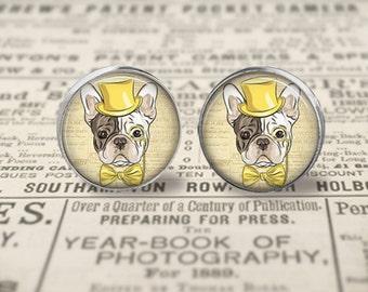 Fashionable French Bulldog Button Earrings