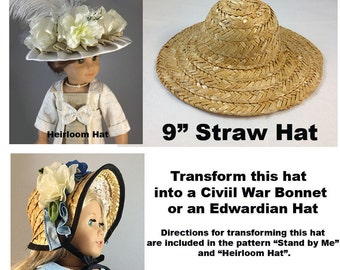 "Straw Hat that fits the American Girl and other 18"" Dolls"