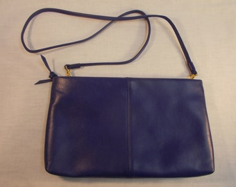 Blue Leather Clutch With Shoulder Strap