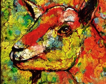 Encaustic Goat Abstract,  pigmented molten Wax 10 x 8 x .75  Fine Art, glass like finish, FREE SHIPPING - ebsq Artist  Ricky Martin