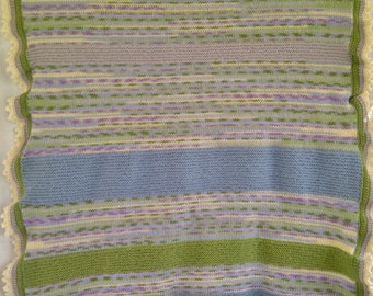 Multi-Color Blue Lavender Green Silver Attractive Hand Knit Afghan