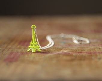 Eiffel tower necklace neon yellow kitsch travel