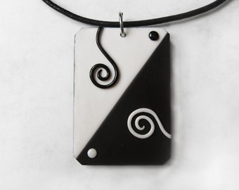 World in Black and White Handmade Polymer Clay Pendant - Modern jewelry - Swirl Necklace - Gift for Her - OOAK Unique jewelry