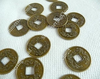 Feng shui coins, bronze feng shui coins, antique gold feng shui coins, lucky coins, good luck coins, feng shui, coins, bronze, antique gold,