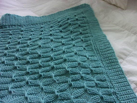 Hand knit Large Smocked pattern Baby Blanket with wide