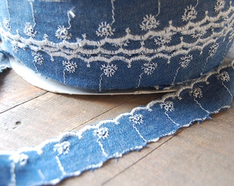 Blue DENIM scalloped eyelet embroidered trim By the Yard