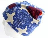 Beanie Hat - Blue Red Flowers - Marimekko