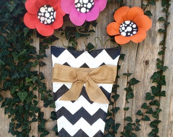 Summer Door Hanger, Screen Door Hanger, Red Pink and Orange Flowers in Chevron Pot Door Hanger, Wreath