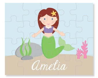Mermaid Puzzle - Personalized Puzzle for Kids - Children Puzzles - Jigsaw Puzzle - Personalized Name Puzzle - 8 x 10 puzzle, 20 pieces