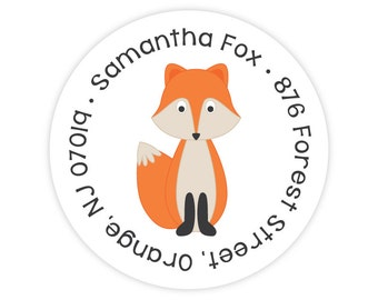 Fox Address Labels - Personalized Kids Address Labels - Fox Stickers - Kids Mailing Labels - Round Return Address Labels for Kids