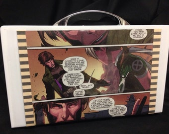 Upcycled Gambit Loves Rogue clutch