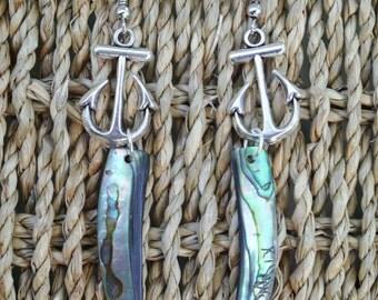 Aloha Beauty - Abalone Anchor Earrings