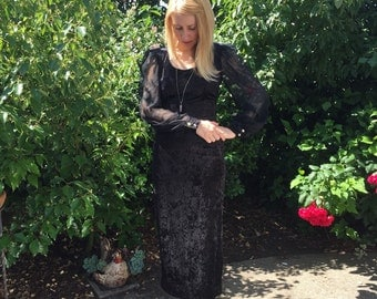 1980s SML Black velvet with sheer sleeves evening gown