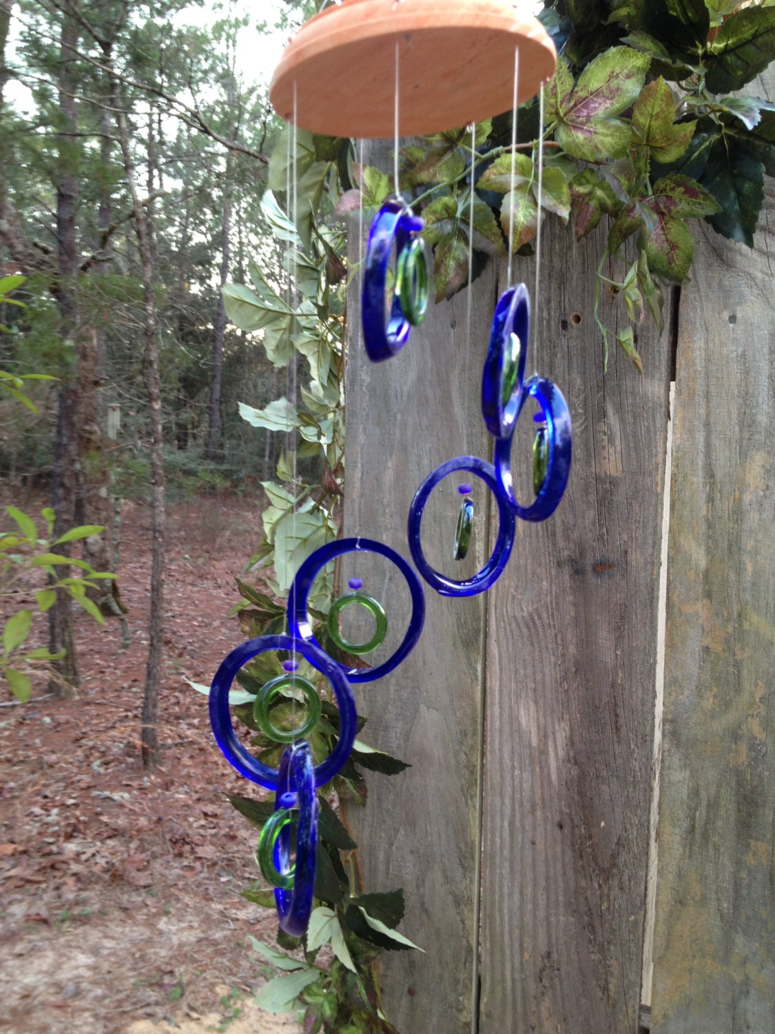 Glass wind chimes from recycled bottles eco friendly blue for Wind chimes from recycled materials