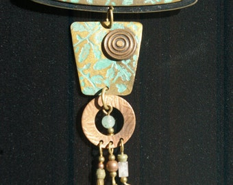 Abstract Primitive Brooch - Patina and Embossing - 1980s