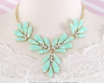 Mint Wreath Bib Necklace, Bridal Necklace, Bridesmaid Necklace, Mint Wreath Statement Necklace