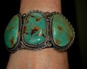 Huge Stunning Navajo Ben Pilot Mountain Turquoise Bracelet  184 grams