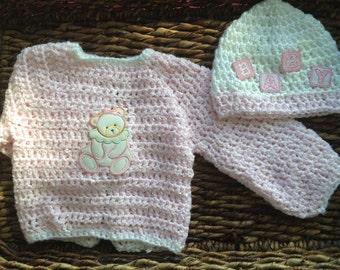 Pink Crochet Baby Girl Beanie and Sweater Jacket with Shimmer Set