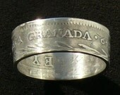 Rare Silver Coin ring of Nueva Granada Colombia 2 Reales 1849, Ring size 7