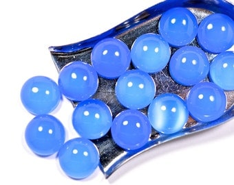 Blue Chalcedony cabochon - 12 x 12 mm round smooth AAA quality - flat back for bezel setting