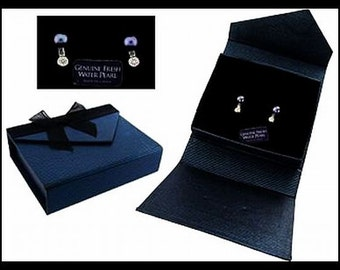 Black Fresh Water Pearl Earrings CZ Accents 925 Sterling Silver Post Backs Boxed Set NOS Vintage