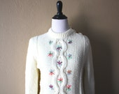 Vintage Knit Sweater with Tiny Floral Embroidery xx
